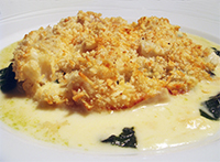 Cod Gratin with Cheese and Spinach